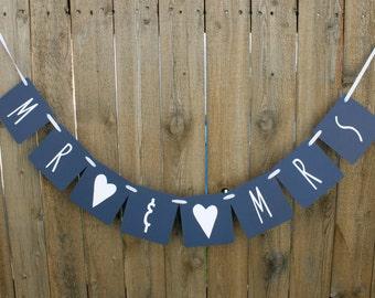 Mr & Mrs Banner, Wedding Banner, Wedding Reception, Wedding Shower Decor, Wedding Decoration, Bridal Shower, Custom Banner