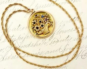 Antique GOLD LOCKET NECKLACE 12k Gold Filled Basket of Flowers Locket Pendant Necklace