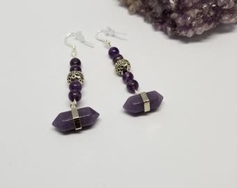 Amethyst Sterling Silver Ear Hooks, Generator Point Earrings! ~Boho, Witch, Mystic, Jewelry