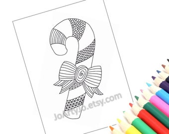 Printable Coloring Page 2, Christmas Zentangle Inspired Candy Cane. Holiday Activity for kids