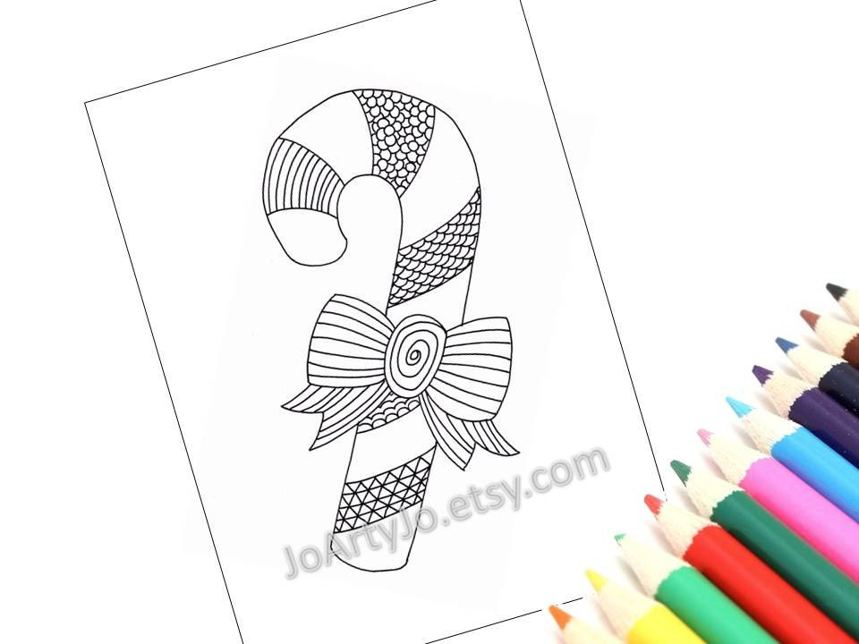 Printable Coloring Page 2 Christmas Zentangle Inspired Candy