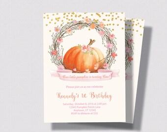 PUMPKIN FIRST BIRTHDAY Invitation Blush Pink and Gold Glitter Invitation | Little Pumpkin First Second Birthday | Autumn Girls Birthday