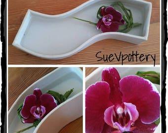Japanese Style S Shaped Ceramic Vase / Ikebana Container. Hand-build white stoneware including FREE SHIPPING