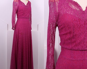 Vintage 1930's Bias Cut Lace Berry Dress • 30s Long Sleeve Lace Dress Set • Size M