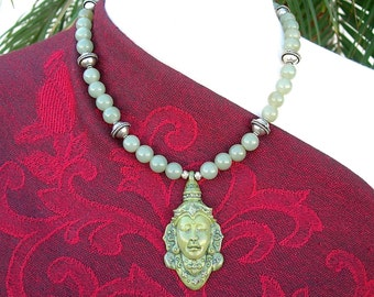 Young Buddha - Prince Siddhartha, Sculpted Resin Pendant, Jade & Silver Beads, Necklace Set by SandraDesigns
