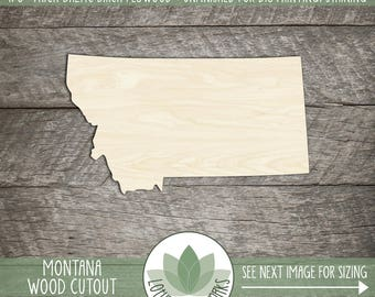 Montana, Unfinished Wood Montana Laser Cut Shape, DIY Craft Supply, Many Size Options