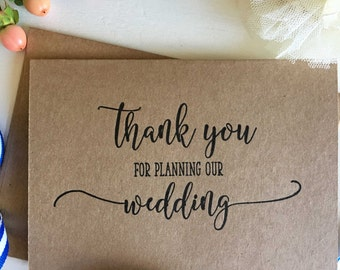 Thank You For Planning Our Wedding, Planner Thank You Gift, Wedding Planner Card, Wedding Co Ordinator Gift, Thank You Card For Reception