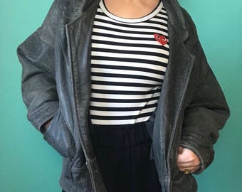 Vintage 90s Genuine Leather Batwing Blouson Jacket Coat 10/12
