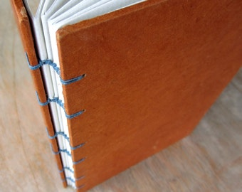 Journal Burnt Orange 8x5.5 inches, patterned cut pages, Ready to Ship
