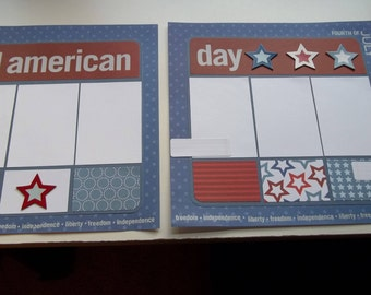 All American Day; 4th of July; 2 page layout; 12x12 page layout; Fourth of July; premade scrapbook pages; 12x12 pages; Celebrate America