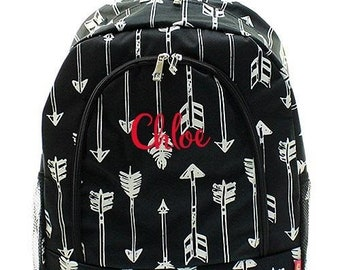 Monogrammed Backpack Personalized Arrow Black Backpack Personalized Backpack Kids Backpack Girls Backpack Boys Backpack
