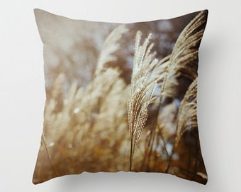 Throw Pillow Cover Wheat Fall Autumn Brown Cream Rustic Country Farmhouse Earthy Neutral Couch Bed Photo Case Home Bedroom Decor