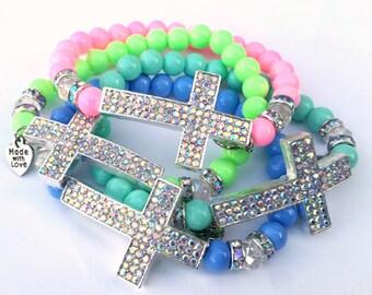 Beaded Bracelet, Silver AB, Cross Bracelet, Minimalist, Faith, Stretch Bracelet, Handmade, Custom, Beaded Jewelry