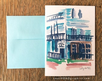 Watercolor Notecard Commodore Bob's - Cotton District, Starkville Mississippi