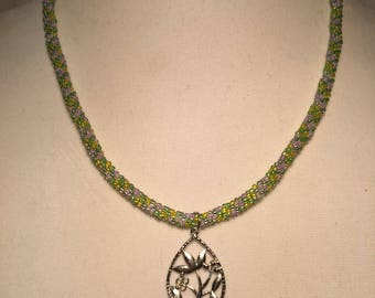Lime green and silver necklace