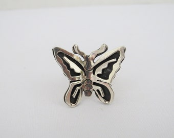 Vintage Sterling Silver Butterfly Adjustable Ring Size 9