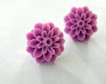Purple Mum Flower Post Earrings Dahlia 15mm Studs Purple Flower