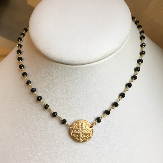 Cosette Choker Necklace in Black Spinel, Bronze and gold
