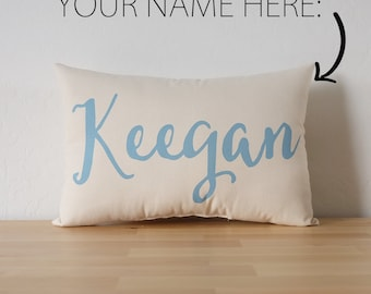 Custom Name Cotton Canvas Pillow - Nursery - Kids' Room - Teen's Room - Dorm Room Decor - Birthday Gift - Baby Shower Gift - Accent Pillow