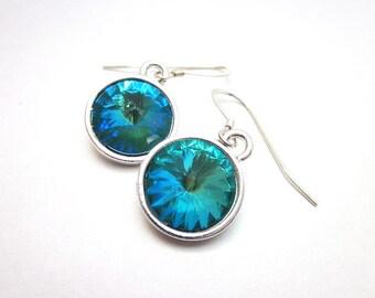 Women's Swarovski Dangle Earrings, Sea Blue Green Earrings, Teal Green Silver Earrings, Blue Emerald Earrings, Teal Green Crystal Earrings