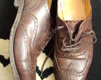 vintage church's brown leather oxford brogues   10s