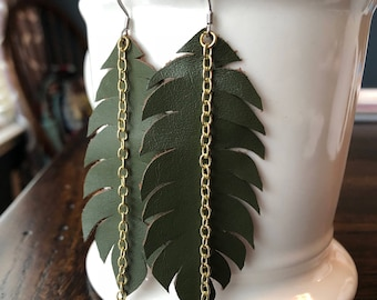 Feather Leather Earrings - Olive Green, with Gold