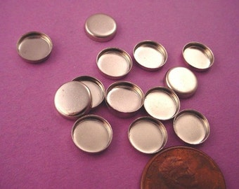 20 silver round 8mm high wall bezel cups
