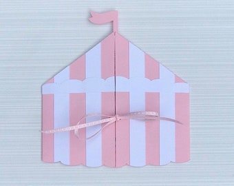 Big Top Circus Tent Birthday Invitation (Pink and White)