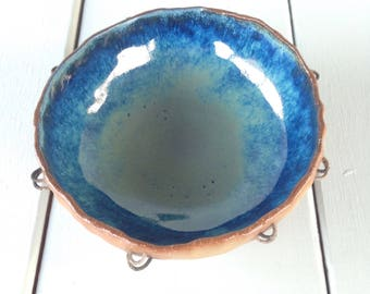 Bowl with Wire Decor and Blue-Green Interior