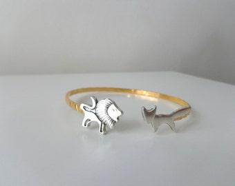 lion fox cuff bracelet, wrap style, animal bracelet, charm bracelet, bangle