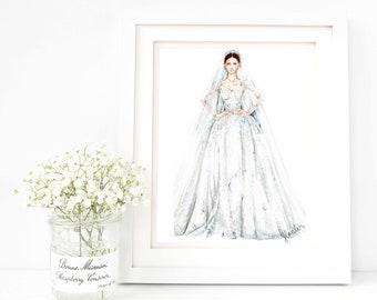 Original Fashion Illustration -Haute Couture Runway Magazine Bridal Bride Watercolor Dress Sketch by Jianlin on Etsy