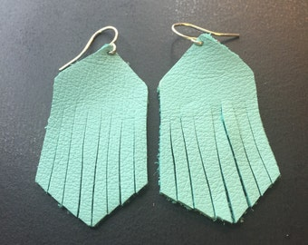 Leather Earrings - Aqua Leather Fringe Earrings