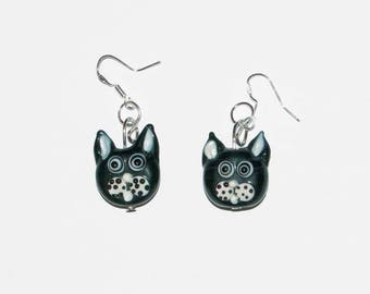 Idea gift Black Cat Head earrings
