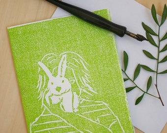 Bunny friend,postcard, Folded Card, Bunny, Woodcut, Print,