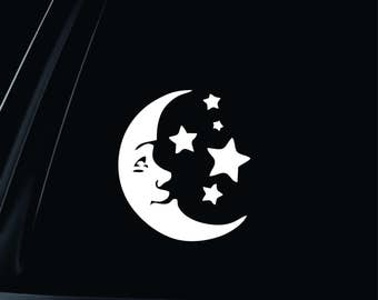 Moon and Stars Vinyl Decal Car Truck Window Laptop Notebook Walls