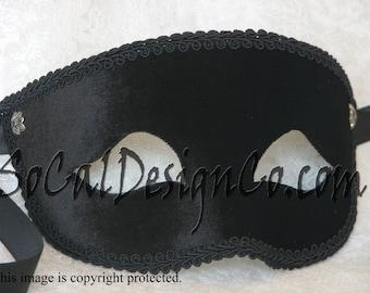 Black Velvet Mens Masquerade Mask