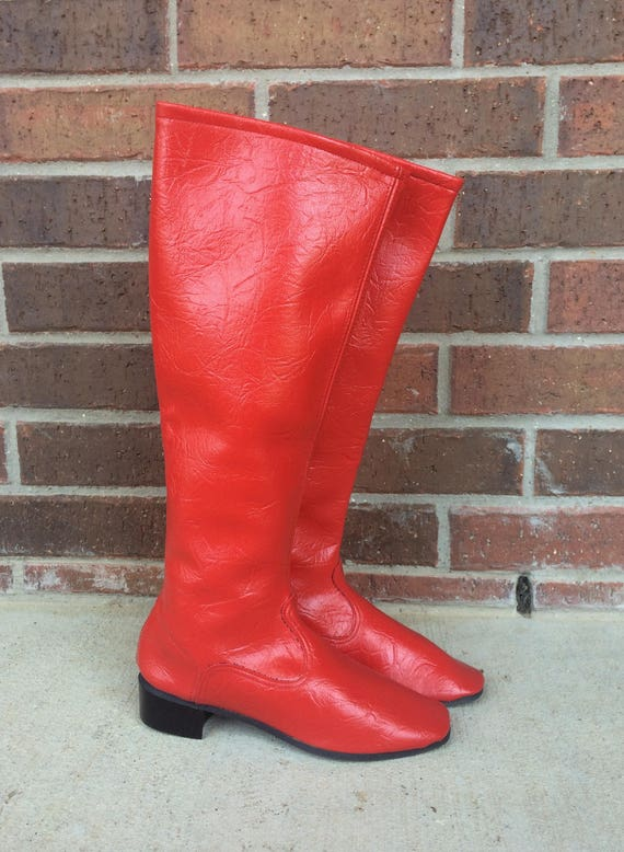 knee 60s tall BOOTS CHERRY high RED Rare Space retro GoGo mod Age vtg 5 5 dolly qPUSR