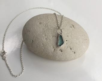 sea glass Necklace, Seaglass Pendant, Seafoam Seaglass Necklace, Blue Seaglass Necklace, Seaglass Jewellery, Cornish Seaglass Necklace