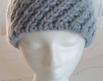 Alpaca Handknit Steel Blue Gray Hat