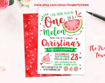 Watermelon Invitation, Watermelon Birthday Invite, First Watermelon Birthday Party, Red One in a Melon Party, 1st Melons, Summer Invitation