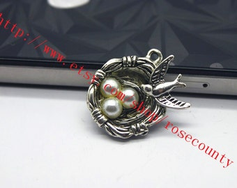 wholesale 20pcs 25x20mm antiqued silver nest of birds charms findings