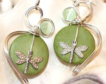 Lime Green Earrings, Dragonfly Jewelry, Dragonfly Earrings, Pastel Green Jewelry, Dangle Earrings, Hippie Earrings, Insect Earrings