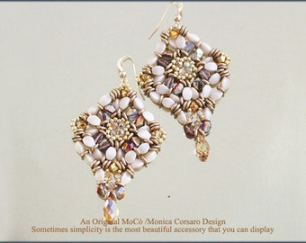 DIY Photo Tutorial Eng-ITA *Only Pinch* Earrings ,PDF Pattern 85 with Pinch,swarovski&seed beads,instructions,bead weaving