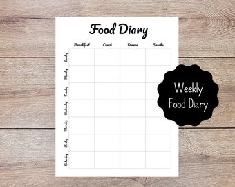 Weekly Food Diary Printable for Bullet Journal & Planner // Weekly Calorie Counter