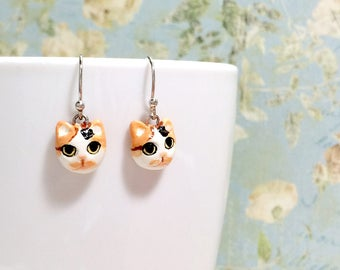 Calico Cat Earrings, Dangle & Drop Earrings, polymer clay cat, cat sculpture, cat lover gifts