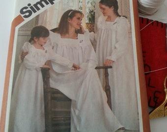 Nightgown Pattern Vintage Simplicity 5179 Women Girls Childs sizes