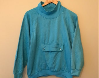 Vintage 80s/90s ADIDAS - Blue Sweater - Large