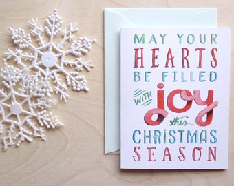 Hand Lettered Christmas Card - A2 - May Your Hearts Be Filled with Joy