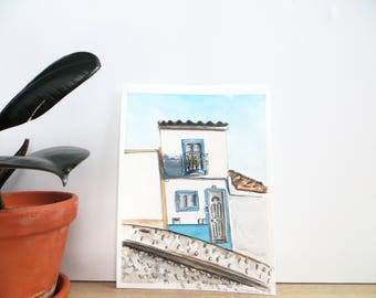 A House in Silves, Portugal Original Watercolour Painting