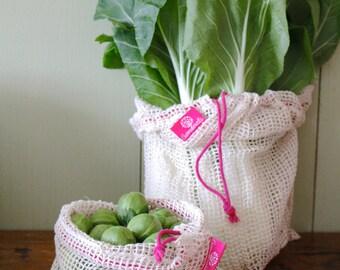 Set of 2 (L + m) organic cotton shopping nets, pink